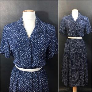 Blue/White Floral Classic Shirt Dress Leslie Fay